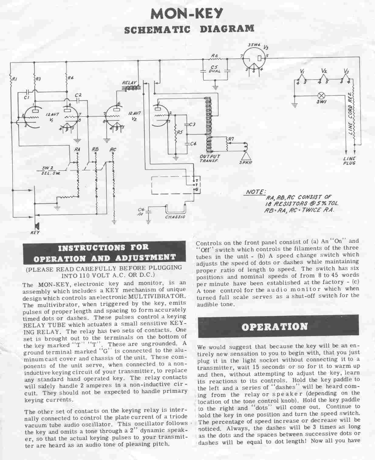 Electronic keyers paddles telegraph sci instrument museums 5510b page 2 of the mon key instruction manual showing schematic diagram 96kb asfbconference2016 Choice Image